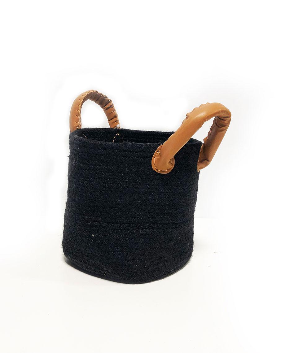 GroenWAAR Mand S zwart met handvat 16Hø16cm