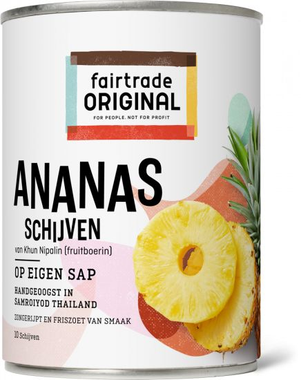Fair Trade Original Ananas schijven op sap, MH, 565g