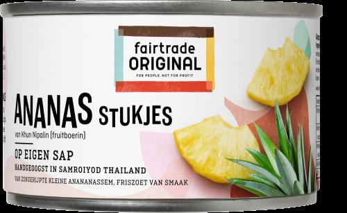Fair Trade Original Ananas stukjes op sap, MH, 227g