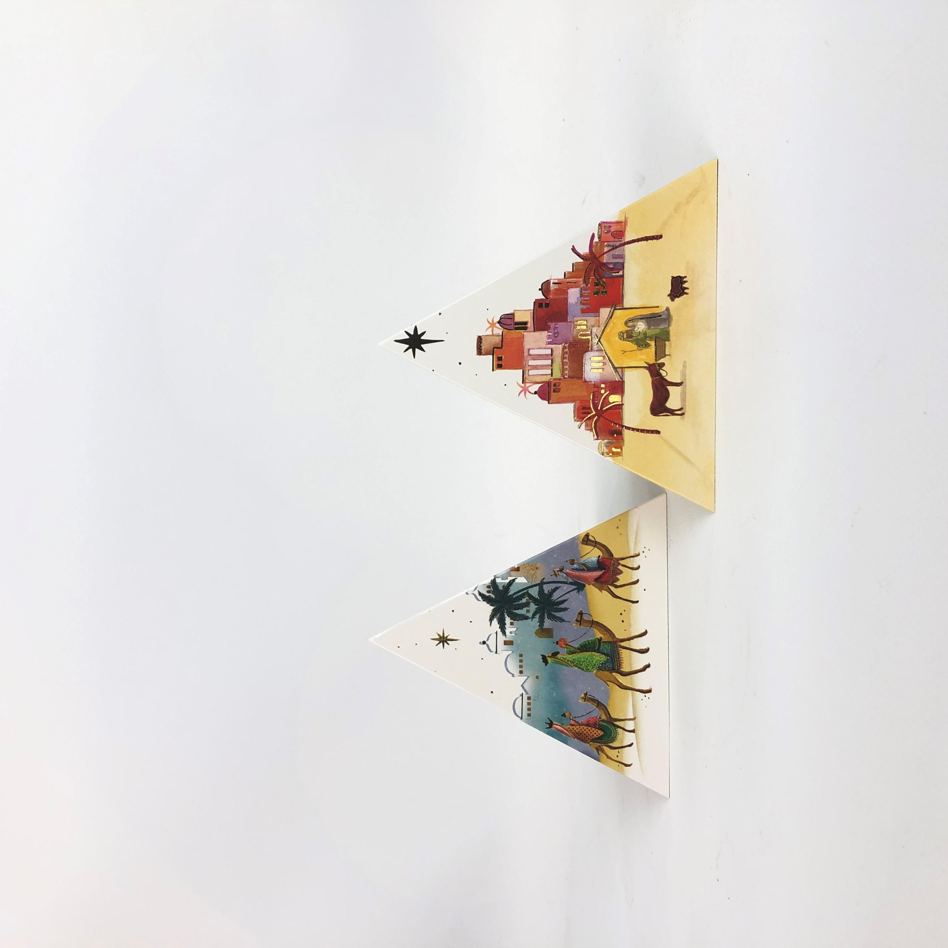 Kerstkaart driehoek gl/bl s/10