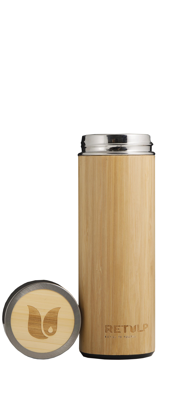 Retulp Tumbler Thermos Bamboo outside, RVS inside 420 ml