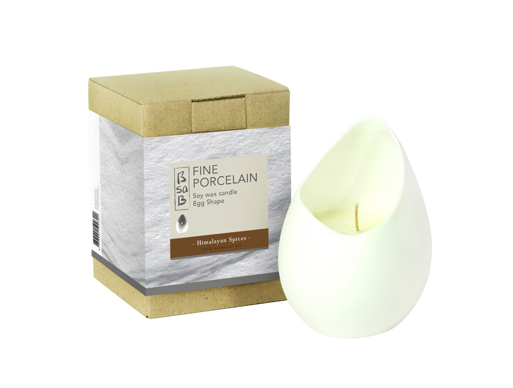 BsaB Candle Fine Porcelain Egg Himalayan Spices (Eo)