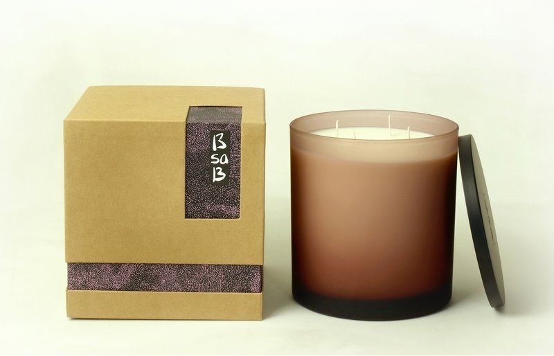 Candle Large Frosted Glass Muave St Tropez (Fr)