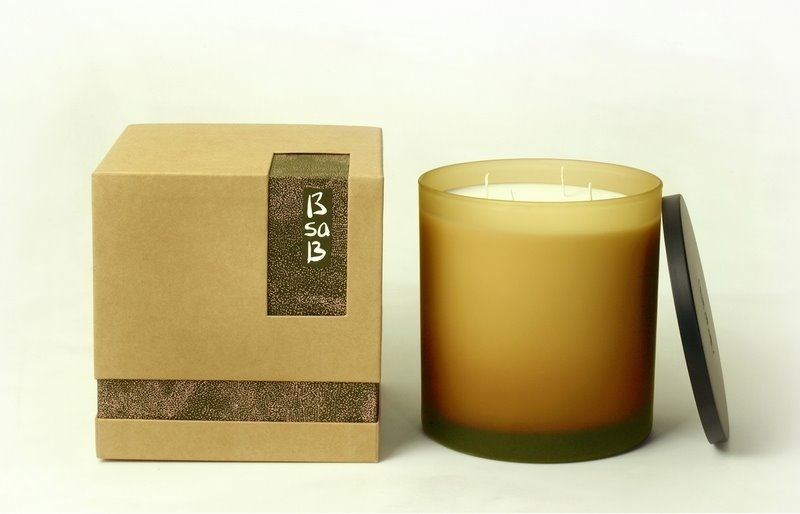 Candle Large Frosted Glass Amber Darjeeling Tea (Fr)