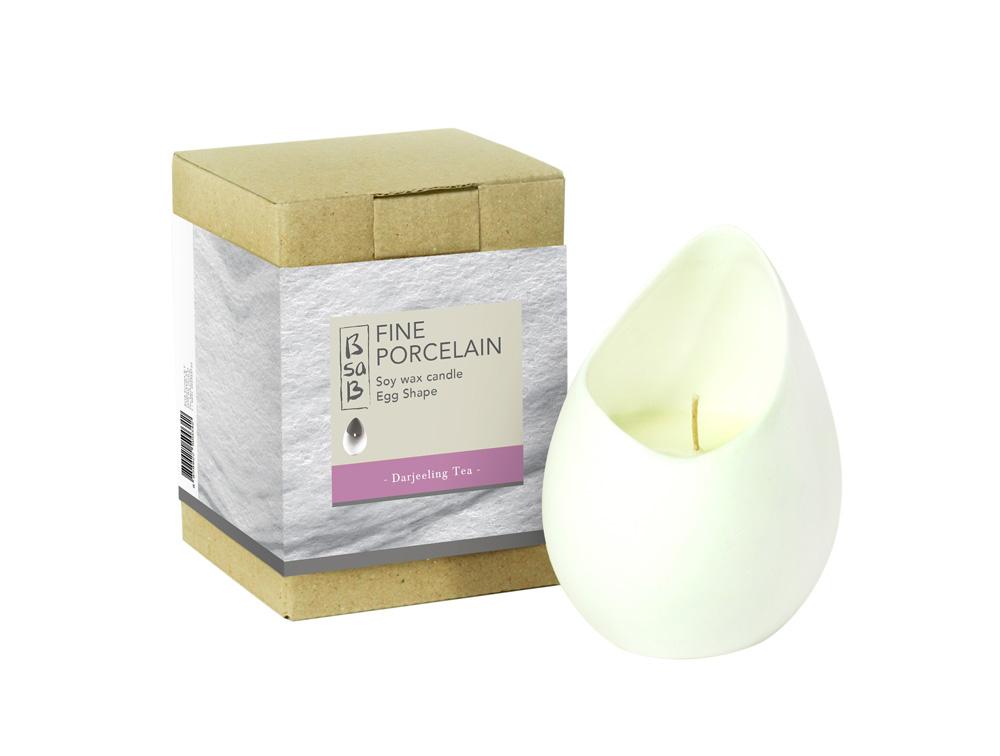 BsaB Candle Fine Porcelain Egg Darjeeling Tea (Fr)